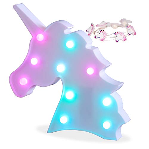 Pooqla Color Changeable Unicorn Marquee Signs Unicorn Party Supplies, Fantasy Themed Wall Decor Desk Table Lamp Gift for Child Kids Baby Girls Bedroom Birthday (Unicorn Head - Colorful)
