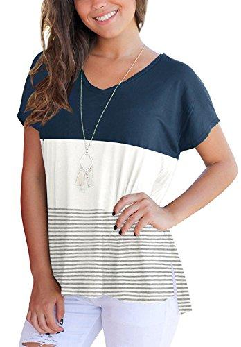 MOLEERE V Neck Triple Color Block Stripe T-Shirt Casual Blouse Tees for Women XXL