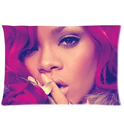 Rihanna Custom Pillowcase 20x36 Rectangle Throw Pillow Cover Soft Cotton Zippered Cushion Case Two Sides Pattern Printed