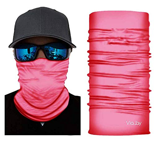 ViaJay Multifunctional UV Sun Protection Face Neck Gaiter Mask, Outdoors, Headband, Bandana, Fishing, Hunting, Motorcycling, Skateboarding Men & Women - Skin Safe (Pink) ()