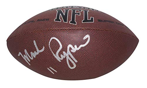 Washington Redskins Mark Rypien Autographed Hand Signed NFL Silver Logo Wilson Football with Proof Photo of Signing, St Louis Rams, Cleveland Browns, WSU Washington State University Cougars, ()