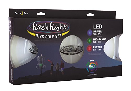 Nite Ize Flashflight LED Disc Golf Discs, Light Up The Dark for Night Play, Pro-Designed 3 Pack, Driver, Mid-Range, Putter with Disc-O Select Choose-Your-Color LED