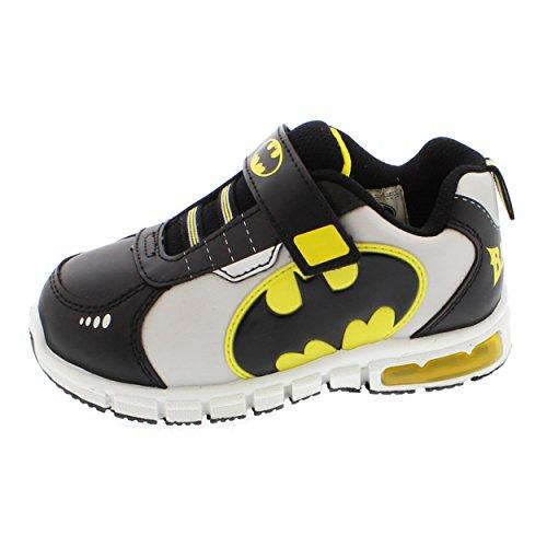 Batman Boys Lighted Sneaker Shoes (11 Little Kid M, Batman Black/Grey ...
