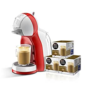 Pack DeLonghi Dolce Gusto Mini Me EDG305.WR - Cafetera de cápsulas, 15 bares de presión, color blanco y rojo + 3 packs de café Dolce Gusto Con Leche