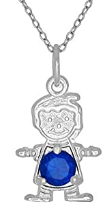 Happy Baby Boy Sterling Silver September Navy Blue Birthstone Pendant Necklace