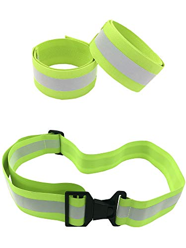HiVisible Reflective Belt with 2 Reflective Bands (Green Belt + 2 ()