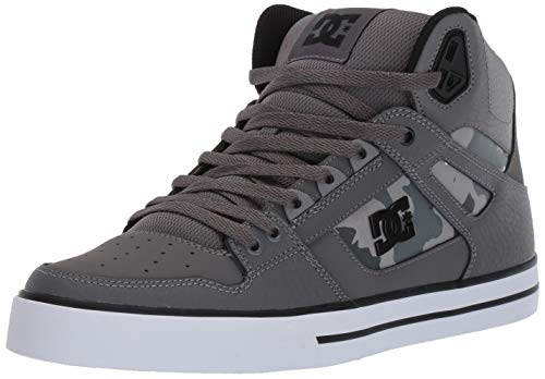 DC Men's Pure HIGH-TOP WC SP Skate Shoe, Gun Metal/White, 9 M US