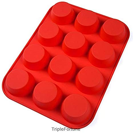 Silicone Muffin Pan Nonstick Baking Mold for Muffins and Cupcakes 12 Cups, Red