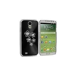 Black Samsung Galaxy S4 S IV i9500 Aluminum Plated Hard Back Case Cover KK731 Swimming Turtles