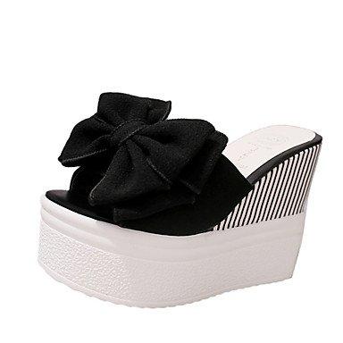 RUGAI-UE Moda de Verano Mujer sandalias casuales zapatos de tacones PU Confort caminar al aire libre,Negro,US10.5 / UE42 / UK8.5 / CN43 Black