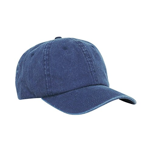 Mens Pigment Dyed Washed Cotton Cap - Adjustable Hat 6 Panel Unstructured (Heavy Washed Navy Blue)