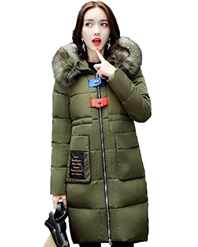 Verde Women Bigood Con Cappuccio Slimming Parka Coat Ladies Invernale Thick Down Long Militare UqPUOEy