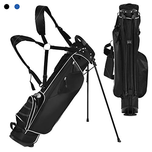 Tangkula Golf Stand Bag Lightweight Organized Golf Bag Easy Carry Shoulder Bag with 3 Way Dividers and 4 Pockets for Extra Storage Sunday Golf Bag, Black