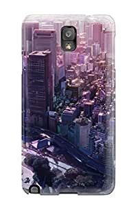 Galaxy Note 3 Hard Back With Bumper Silicone Gel Tpu Case Cover Cityscapes Buildings Anime Flats Cities
