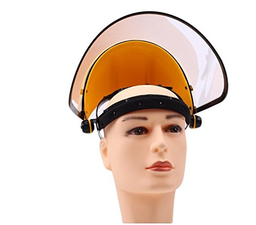 Safety Works Adjustable Headgear Face shield with Visor Mask Clear Face and Head Coverage Polycarbonate Used for - Light Construction, General Manufacturing, Cutting Metal, Cutting Wood (TL-1021) by JEWELS FASHION (Image #2)