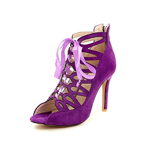 e sandali tacchi fighi cerniere alti stivali sexy 36 dei violet sandali xgZqYx