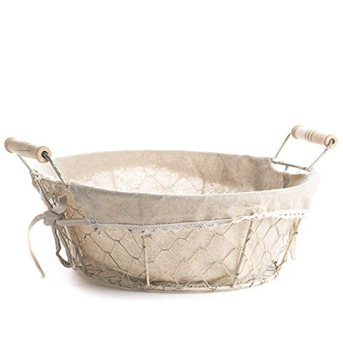 Factory Direct Craft Versatile Round White Washed Chicken Wire Basket With Natural Linen Liner for Home Decor and Organizing