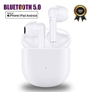 Wireless Earbuds Bluetooth 5.0 Headphones with Charging Case, 3D Stereo Deep Bass in-Ear Noise Cancelling Headset, IPX5 Waterproof Sport Headphones Built in Mic for Apple Airpods/iPhone/Android