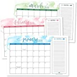 Cute Watercolor 2019-2020 Large Monthly Desk or Wall Calendar Planner, Big Giant Planning Blotter Pad, 18 Month Academic Desktop, Hanging 2-Year Date Notepad Teacher, Family or Business Office 11x17""