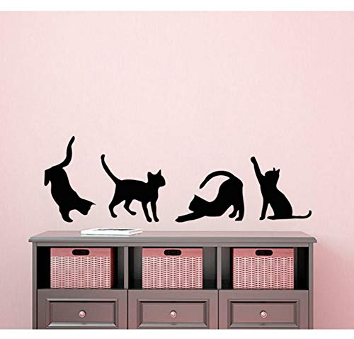 Dalxsh Four Cats Silhouettes Art Wall Sticker Small Pattern Art Wall Decals Cute Cats Special Designed Wall Murals Vinyl 13x42cm -