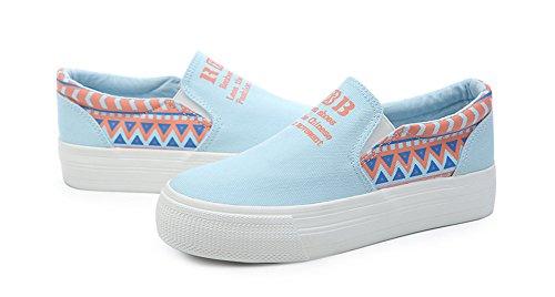 Sfnld Dames Slip Op Lage Top Platte Canvas Loafer Sneakers Lichtblauw