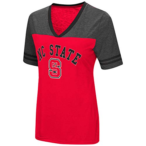 Colosseum Women's NCAA Varsity Jersey V-Neck T-Shirt-North Carolina State Wolfpack-Red-Small