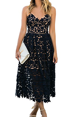 Alvaq Women's Summer Sexy V Neck Sleeveless Lace Hollow Formal Evening Casual Midi Dress Wedding Black,Medium