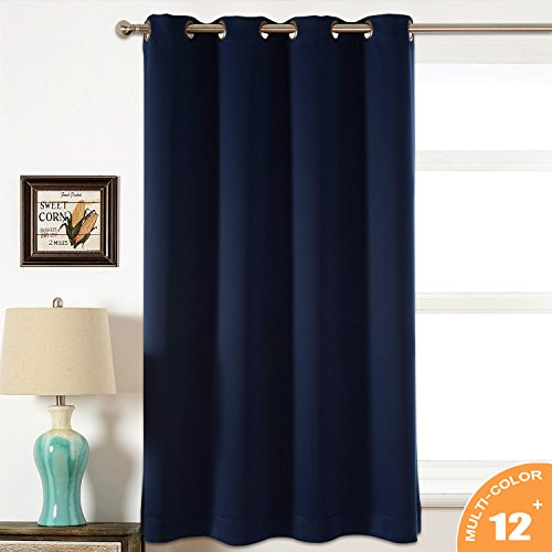 AMAZLINEN Sleep Well Blackout Curtains Toxic Free Energy Smart Thermal Insulated,52 W X 63 L Inch,Grommet Top,1 Panel Pack(Navy Blue)