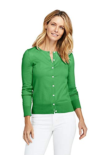 - Lands' End Women's Tall Supima Cotton Cardigan Sweater, M, Vibrant Fern