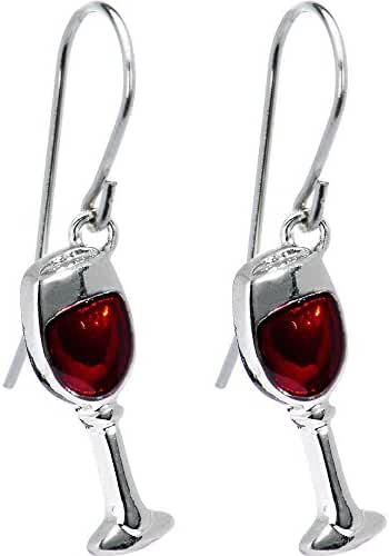 Body Candy Stainless Steel Red Wine Glass Earrings