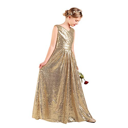 27975f38d35 Champagne Flower Girl Dress Long Junior Bridesmaid Dresses Girls Sequined  Pageant Dress Girls Party Dresses 10t
