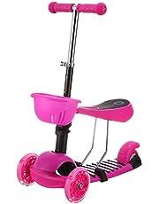 سكوتر قابل للتعديل بسلة وعجلات مضيئة للاطفال - بينك
