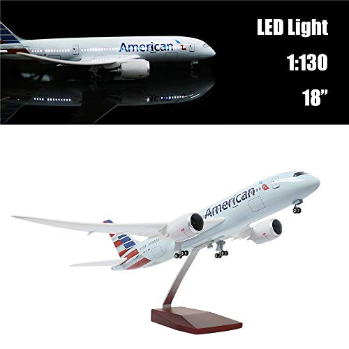 "24-Hours 18"" Collection Model Airplane Statue Scale 1 130 Airplane Model American Airlines Boeing 787 with LED Light(Touch or Sound Control) for Decoration or Gift"