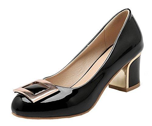 AgooLar Damen Blend-Materialien Rein Ziehen auf Rund Zehe Mittler Absatz Pumps Schuhe Schwarz