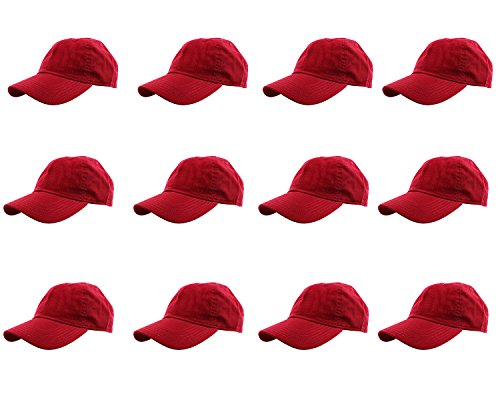 Gelante Baseball Caps 100% Cotton Plain Blank Adjustable Size Wholesale LOT 12 Pack - 1803 Red