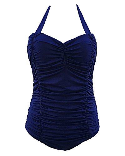 Da Bagno Beachwear Donna In Costume Scuro Coordinati Intero Blu Su Piece One Spinga Bikini Kasen 8Z57wEqw