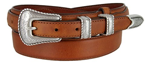 Silver Buckle Set Oil-Tanned Genuine Leather Western Ranger Belt for Men(Tan, 38) (Ranger Belt Buckle)