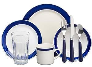 Gibson Essex 32-Piece Dinnerware Set, Cobalt/Cream