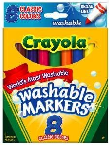 Crayola Broad Point Washable Markers, 8 Markers, Classic Colors (58-7808) Case of 24 Packs