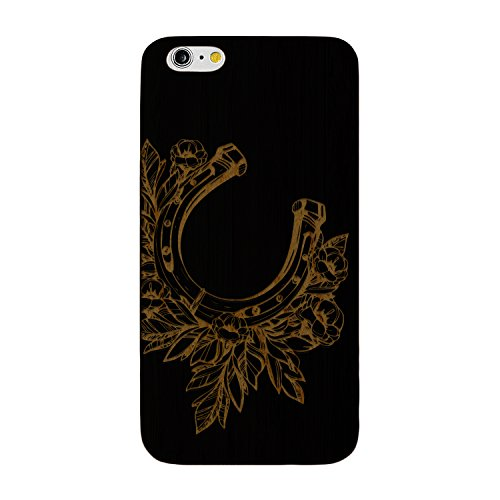 Laser Engraved Wood Case for Apple iPhone Samsung Galaxy Floral Animal Horseshoe Flowers for iPhone 7 Plus Black Case