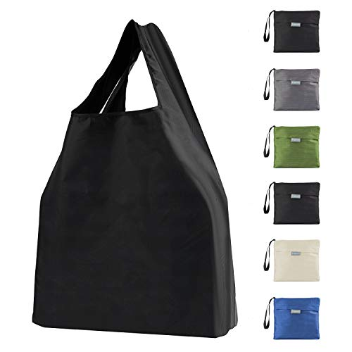 6 Pack Reusable Grocery Bags 50LBS Foldable Tote Shopping Bags with Pouch Bulk Ripstop Polyester Eco-Friendly Bags Washable Durable Lightweight Black White Grey Moss Blue