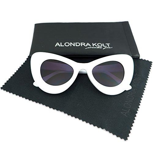 Alondra Kolt The Fireworks Cat Eye Sunglasses (White / Deep Blue - Sunglasses White Big