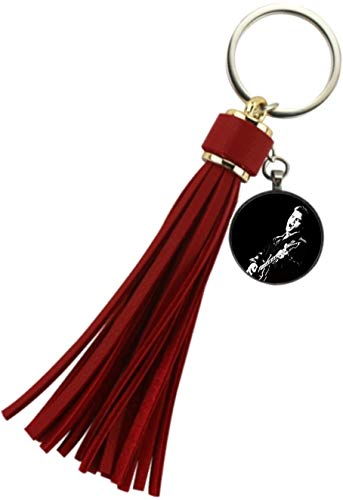 - Elvis Presley on a Guitar Red Tassel Keychain