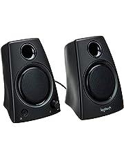 Logitech Z130 głośnik komputerowy, dźwięk stereo, 2 głośniki, moc szczytowa 10 W, wejście 3,5 mm, czysty dźwięk, regulator na prawym głośniku, wtyczka UE, PC/TV/telefon komórkowy/tablet – czarny