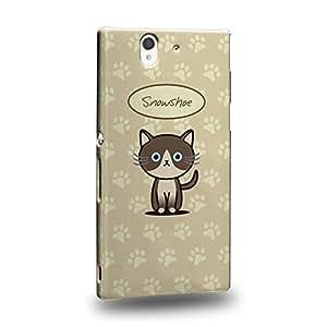Case88 Premium Designs Art Collections Hand Drawing Cartoon kitten snowshoe Carcasa/Funda dura para el Sony Xperia Z