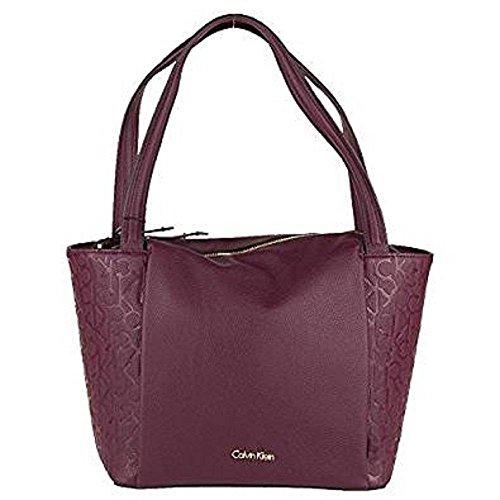 Calvin Klein - Bolso al hombro para mujer rojo burdeos One Size