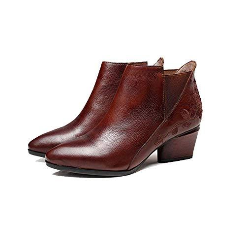 élégantes Rétro Femmes élégantes pour Confortables Pointues Chaussures Bottines Brown ZPEDY xY8fOqgf