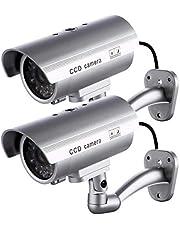 2 x bewakingscamera, bewakingscamera, bewakingscamera, voor binnen of buiten, met led-knipperlicht