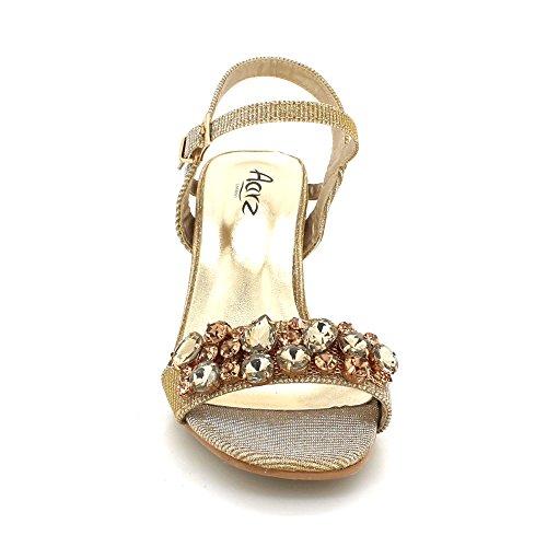 AARZ LONDON Womens Ladies Crystal Gems Diamante Evening Wedding Party Bridal Prom Medium Block Heel Sandals Shoes Size Gold 47hUFJy