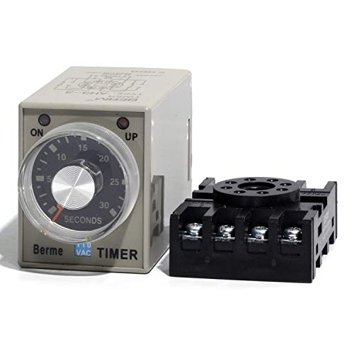 0-30 Seconds AH3-3 Delay Off Timer Relay Switch AC 110V with Base 110V ()